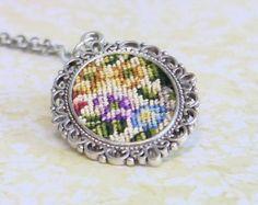 Cross stitch pendant necklace by TessaRandi on Etsy