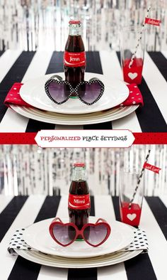 Retro-Glam Bridesmaid Luncheon & Gift Ideas {+ Free Printables} // Hostess with the Mostess - - What's black and white and RETRO all over? These playful Bridesmaid Luncheon & Gift Ideas! I've been working with Coke this summer to help get the. Bridal Shower Tables, Bridal Shower Rustic, Bridal Shower Decorations, Bridal Shower Gifts, Bridal Gifts, Fiesta Pin Up, Retro Bridal Showers, Pin Up Party, Coca Cola Party