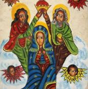 Ethiopian_angels_with_Mary_fabric by sheree_renee_thomas, Spoonflower digitally printed gift wrap