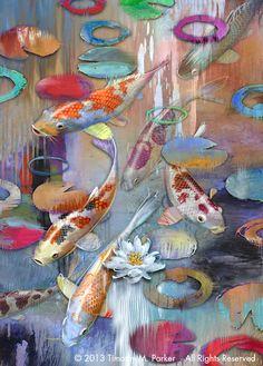 "Abstract Koi Fish Painting, Contemporary Art, ""Koi Pond #1"" Artist Tim Parker - Art2D Gallery, Modern Art Original Paintings and Fine Art Prints"
