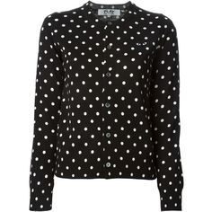 Comme Des Garçons Play embroidered heart polka dot cardigan ($625) ❤ liked on Polyvore featuring tops, cardigans, black, wool tops, play comme des garçons, embroidered top, cardigan top and embroidery top
