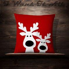 Christmas Reindeer Christmas Pillow Holiday by iwantitalldesign Christmas In Heaven, Christmas Holidays, Christmas Ornaments, Reindeer Christmas, Christmas Cushions, Christmas Pillow, Decoration Christmas, Xmas Decorations, Christmas Sewing