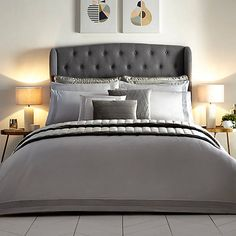 Hotel Collection 400 Thread Count Cotton Pleated Grey Duvet Cover & Standard Pillowcase Set by Kaleidoscope Bed Duvet Covers, Duvet Sets, Duvet Cover Sets, Grey Bedroom Decor, Home Bedroom, Bedrooms, Grey Velvet Bed, Grey Duvet, Grey Room
