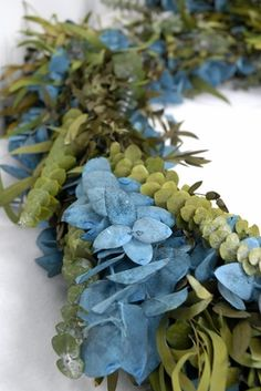 Preserved 8' Eucalyptus Blue and Green Garland