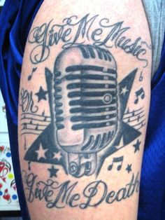 Well Said! Great tattoo!  vintage microphone tattoo