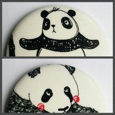 """magnets """"panda"""" tissu enduit // 56mm"""