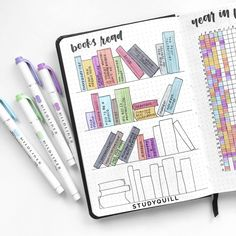 23 creative book and reading trackers for your bullet journal for bibliophiles and other lovers of reading. Easily track your reading progress with these trackers. Bullet Journal 2019, Bullet Journal Books, Bullet Journal Ideas Pages, Bullet Journal Layout, Bullet Journal Inspiration, Book Journal, Reading Tracker, Reading Goals, Bujo