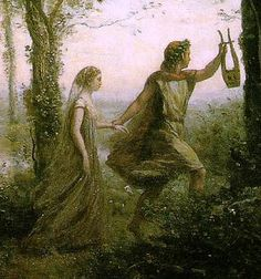 Orpheus walking ahead of Eurydice, leading the way out of the underworld.
