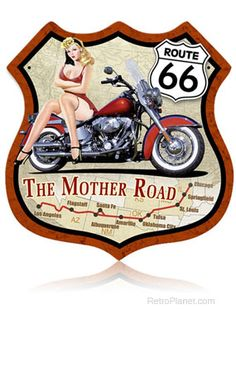 Route 66 Motorcycle Pin Up Girl Metal Sign