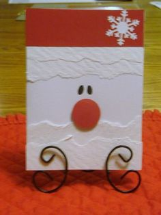 Super Cute Santa Card - Cards and crafts Diy Christmas Cards, Handmade Christmas, Holiday Cards, Christmas Crafts, Santa Cards Handmade, Santa Christmas, Simple Christmas, Family Crafts, Winter Cards