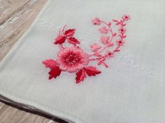 Vintage Pink Floral Handkerchief by MarkingOurHome on Etsy