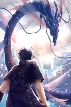 """finally got the go to post this so here's my full piece for i remember crying and dying trying to pick out diff shades of violet just so noctis and leviathan don't blend into one blob orz Final Fantasy Vii Remake, Artwork Final Fantasy, Noctis Final Fantasy, Final Fantasy Cloud, Final Fantasy Cosplay, Final Fantasy Characters, Fantasy Series, Final Fantasy Xv Wallpapers, Zero Wallpaper"