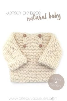 ideas for knitting baby pullover garter stitch Baby Sweater Knitting Pattern, Knitting Patterns Boys, Baby Sweater Patterns, Baby Patterns, Baby Knitting, Crochet Baby, Knitted Baby, Sewing Patterns, Baby Cardigan
