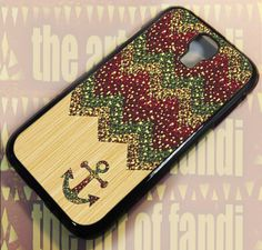 Anchor Cevron Wood sparkle - For Samsung Galaxy S4 Black Case Cover