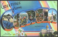 1940s Large Letter Greetings from  Georgia State Vintage Postcard