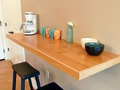 Here are the DIY Basics for building a wall-mounted kitchen counter. From the experts at DIYNetwork.com.