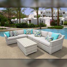 Delacora TKC-DPF-FAI07B Fairmont Outdoor 7 Piece Conversation Set with Fade Resi Beige Outdoor Furniture Sets Conversation