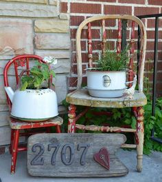 Old chairs, old enamelware