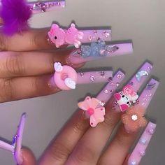 Acrylic Nail Designs Coffin, Purple Acrylic Nails, Best Acrylic Nails, Cute Nails, Pretty Nails, Nail Bling, Acylic Nails, Exotic Nails, Kawaii Nails