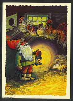 gnomes in the henhouse Troll, Vintage Christmas, Christmas Cards, Christmas Eve, Decoupage Glass, Old Cards, Old Postcards, Stories For Kids, Christmas Pictures