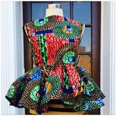 Ankara peplum top/ fabrics are all 100% cotton. HI-Tex by Roshes
