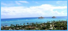 A bird's eye view of beautiful Lanikai Beach Oahu Hawaii
