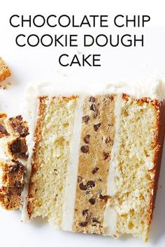 Get ready for the ultimate collision of cake and cookies in this Chocolate Chip Cookie Dough Cake recipe. #BiteMeMore #cake