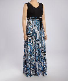 Look at this #zulilyfind! Blue & Black Abstract Sleeveless Maxi Dress - Plus by GLAM #zulilyfinds