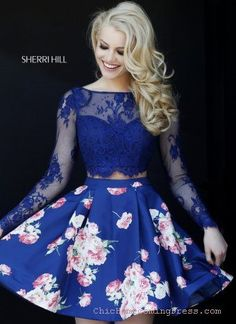 Gorgeous Two Piece Sherri Hill 32323 Navy Short Homecoming Dress Women, Men and Kids Outfit Ideas on our website at 7ootd.com #ootd #7ootd