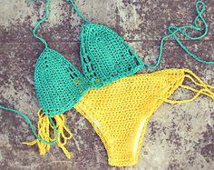 Green and Yellow Crochet Bikini set.Color block summer Swimsuit.Custom Sexy Brazilian bikini