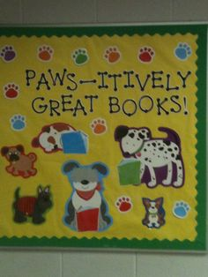 Reading bulletin board with dog theme