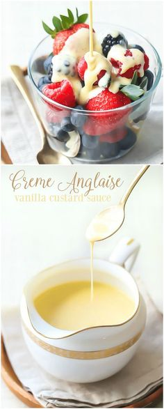 Creme Anglaise: this classic vanilla custard sauce will take any dessert to the next level!  It's like liquid creme brulee, so rich and creamy, and it's made from just 5 simple ingredients!  #cremeanglaise #desserts #sauce #vanilla #custard #recipes via @bakingamoment