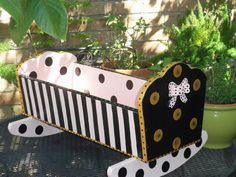 French style hand painted pine children toy doll bed Source by