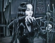 """The Addams Family"" - Morticia Addams Morticia Addams, Gomez And Morticia, The New Yorker, Velvet Painting, Creepy Clown, Creepy Art, Scary, Horror Show, Art Archive"