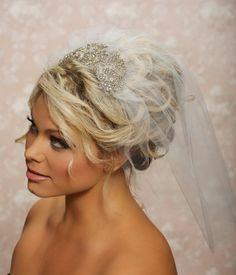 swarski crystal wedding veils   Wedding Bridal Blusher Veil, 1950 veil, Swarovski Crystal Veil ...