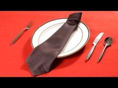 How to Fold a Napkin into a Necktie | Napkin Folding - YouTube