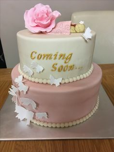 Pink And Gold Baby Shower Cake Cakes And More By Nora Baby