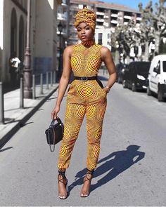 African Jumpsuit: 27 Latest Ankara Jumpsuit Styles (Updated) It's time for some African Jumpsuit, or otherwise, some beautiful Ankara jumpsuit styles 2019 loved :) Every woman loves Fashion and especially when you ca African Print Pants, African Print Dresses, African Fashion Dresses, African Dress, Fashion Outfits, Swag Outfits, Ankara Fashion, African Prints, African Fabric