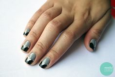tutorial: black-silver-grey-nails
