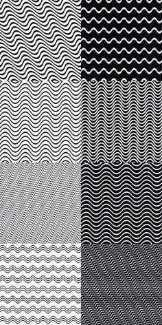 21 seamless monochrome wave line pattern backgrounds
