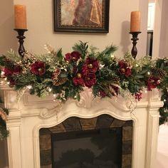 Christmas Magnolia Garland 9 foot 140 LED light with multi Etsy Diy Christmas Fireplace, Christmas Mantels, Noel Christmas, Rustic Christmas, Christmas Lights, Christmas Wreaths, Christmas Crafts, Christmas Christmas, Christmas Villages