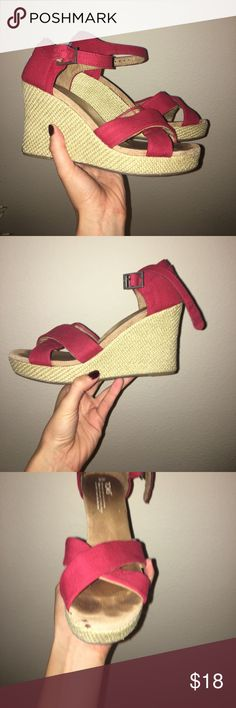 Tom wedges Red Tom wedges, a little worn, still in pretty good shape Toms Shoes Wedges