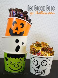 Add Halloween faces to plain ice cream cups for Halloween treats! thecraftingchicks.com