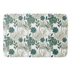 Teal Tropical Monstera Botanical White Leafs Mint Bath Mat Majestic Monstera Leaf products gifts and home goods featuring the giant leave called Monstera. Glitter Gifts, Leaf Art, White Glitter, Floral Style, Paper Goods, Memory Foam, Bath Mat, Unique Gifts, Teal