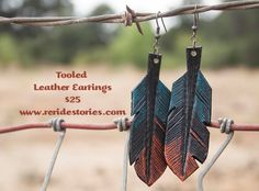 Tooled Leather Feather Earrings- Turquoise & Orange by ReRideStories on Etsy