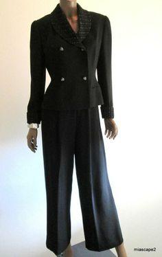 ZELDA Black Pant Suit ~ BEADED Trim Blazer Suit Jacket ~ Rayon Crepe EUC ~ S 4 6 #Zelda #PantSuit