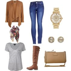 Winter Casual by maria-diarte on Polyvore featuring polyvore fashion style Paige Denim 2LUV Charlotte Russe Kate Spade EF Collection Michael Kors