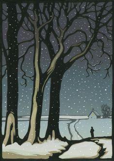 'Winter Evening Scene' by Chris Wormell (linocut) Gravure Illustration, Illustration Noel, Winter Illustration, Illustrations, Winter Trees, Winter Art, Linolium, Landscape Art, Landscape Paintings