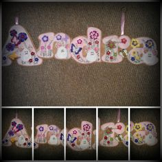 Andra Name banner made out of pink and beige felt decorated with flowers in yellow, green, pink, and lilac with matching buttons too. Finished off with little mice and a bee  https://www.facebook.com/AHeartlyCraft