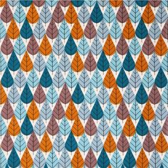 flower fabric by Charley Harper with blue, teal, brown and grey leaves
